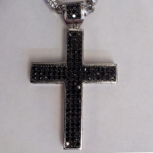 Sols fine jewelry silver two tone black white stone cross pendant silver two tone black white stone cross pendant aloadofball Image collections